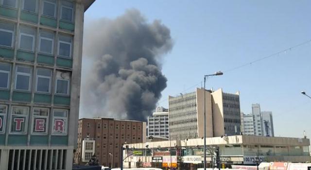 Ankara'da YHT garı binası yanındaki inşaatta yangın çıktı!